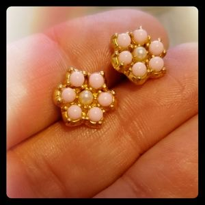 Pink and Gold Flower Shaped Earrings Pearl Center